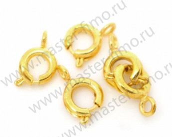 Опт! Замок Spring Ring Gold Plated 10 х 6 мм (50 шт.)