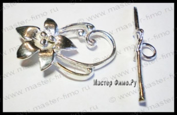 Тоггл Bright Sterling Silver Flower
