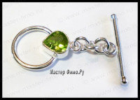 Тоггл Sterling Silver Faceted Peridot